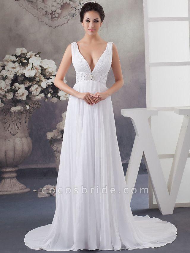 A-Line Wedding Dresses V Neck Chapel Train Chiffon Satin Regular Straps
