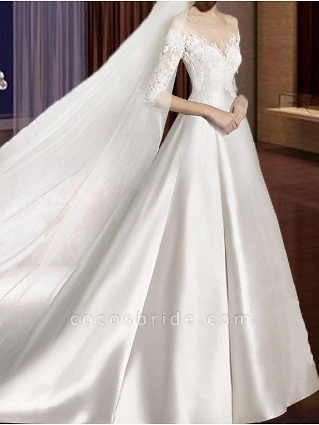 A-Line Wedding Dresses V Neck Court Train Lace Tulle Half Sleeve Formal Vintage Plus Size Illusion Sleeve