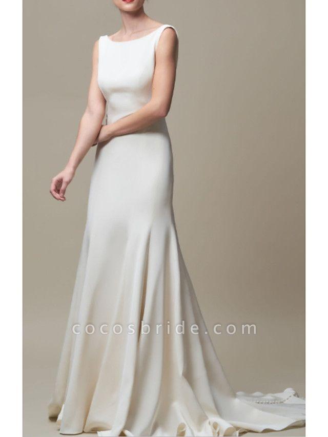 Mermaid \ Trumpet Wedding Dresses Jewel Neck Court Train Stretch Satin Regular Straps Elegant