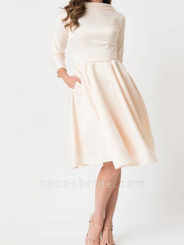 A-Line Wedding Dresses High Neck Knee Length Satin Long Sleeve Casual Little White Dress