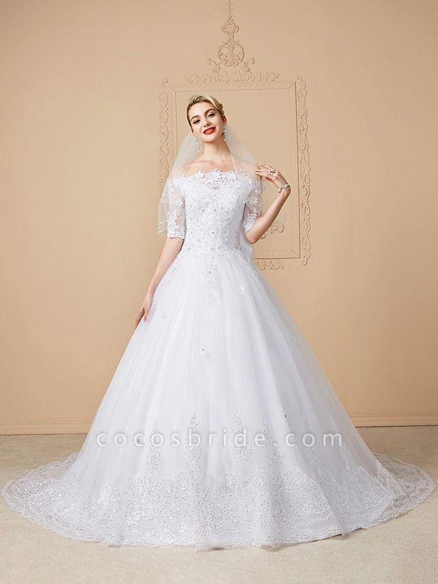 Ball Gown Wedding Dresses Off Shoulder Court Train Lace Tulle Half Sleeve Sparkle & Shine Open Back Cute