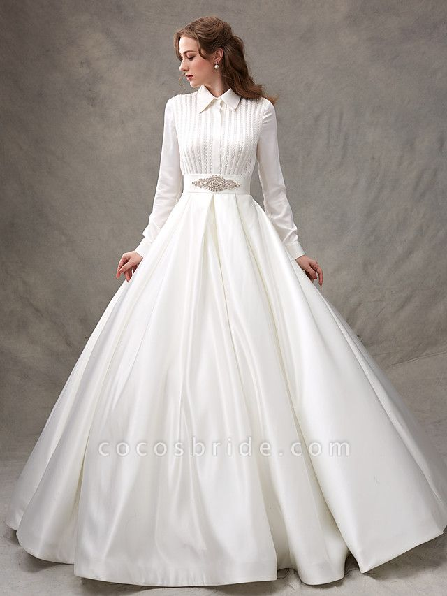 Ball Gown Wedding Dresses High Neck Sweep \ Brush Train Satin Long Sleeve Glamorous Sparkle & Shine