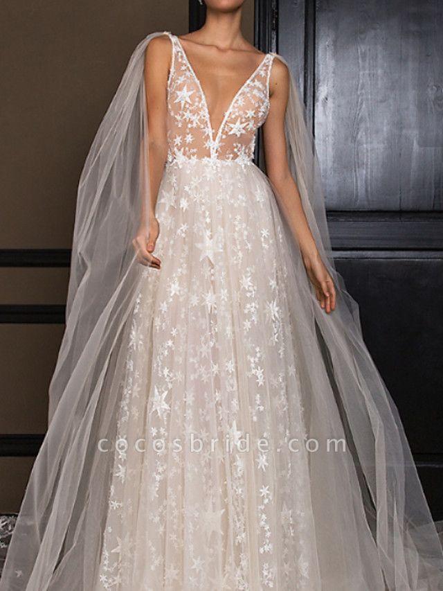 Lt7922277 Simple A-line Appliques Boho Wedding Dress