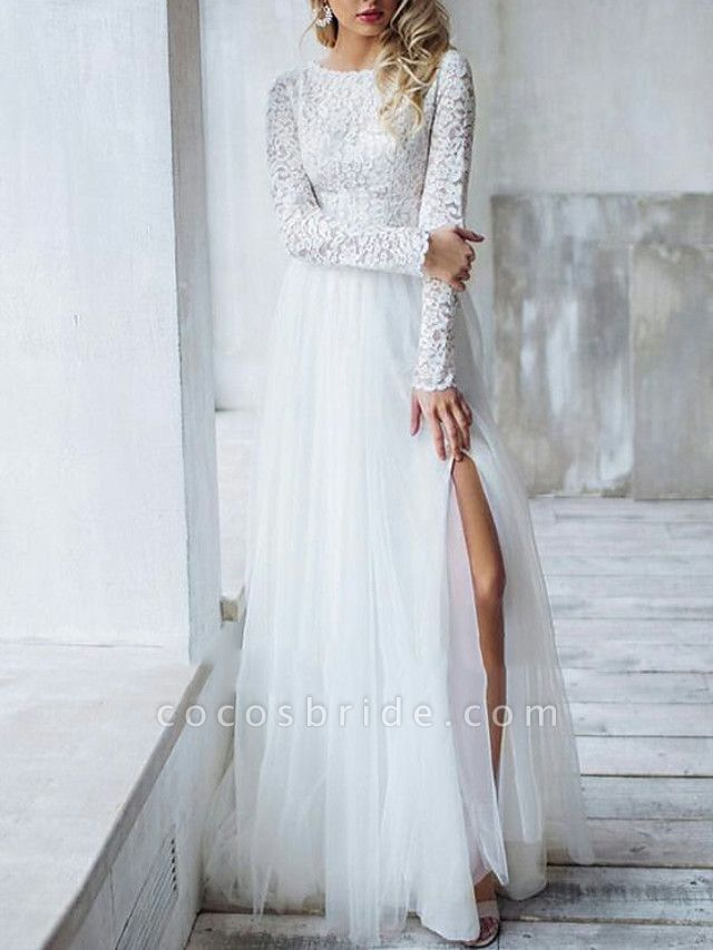 A-Line Wedding Dresses Jewel Neck Sweep \ Brush Train Lace Long Sleeve Romantic Boho See-Through Illusion Detail Backless