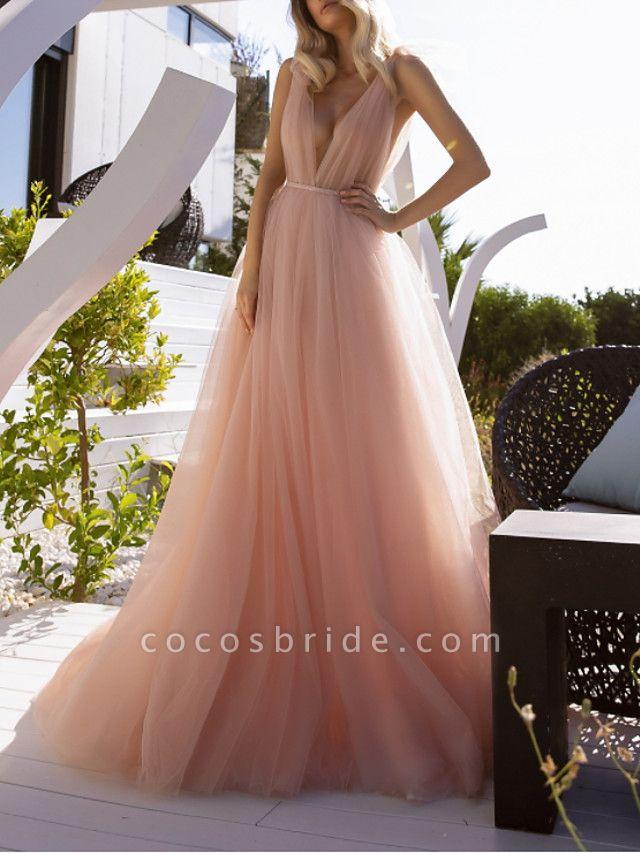 A-Line Wedding Dresses V Neck Court Train Chiffon Sleeveless Beach Sexy Wedding Dress in Color See-Through