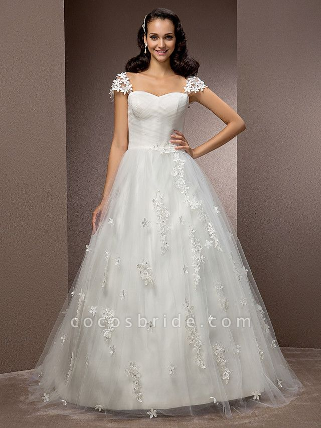 Ball Gown Square Neck Court Train Tulle Short Sleeve Wedding Dresses