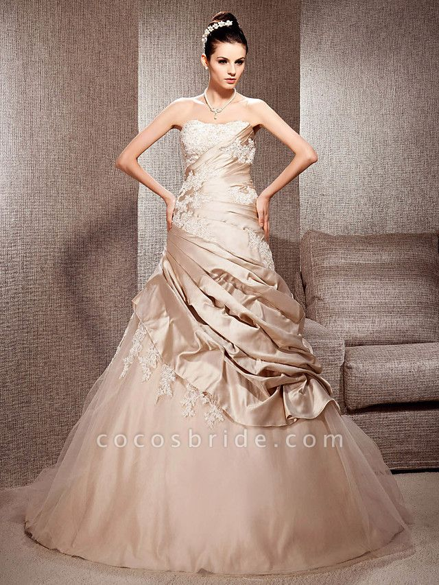 Ball Gown Strapless Court Train Satin Tulle Sleeveless Wedding Dress in Color Wedding Dresses