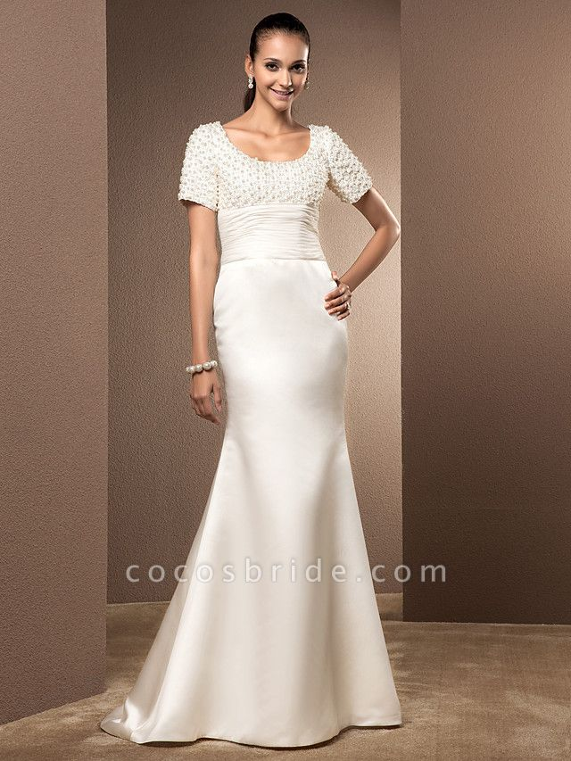Mermaid \ Trumpet Wedding Dresses Scoop Neck Court Train Lace Satin Short Sleeve