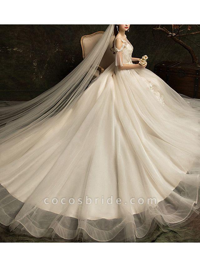 A-Line Wedding Dresses Jewel Neck Court Train Lace Half Sleeve