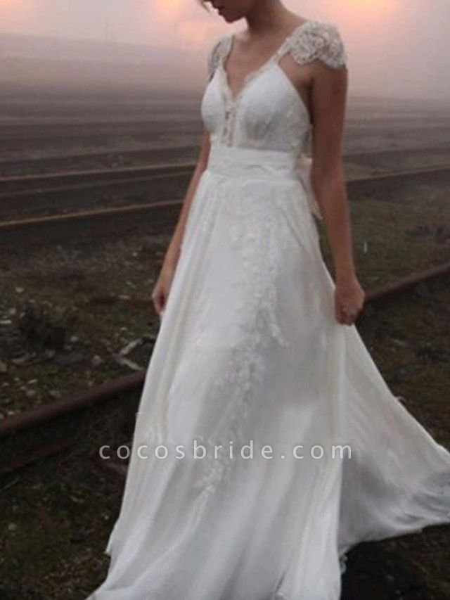 A-Line Wedding Dresses V Neck Sweep \ Brush Train Chiffon Lace Cap Sleeve Plus Size