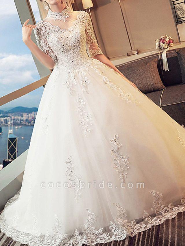 A-Line Wedding Dresses High Neck Sweep \ Brush Train Lace 3\4 Length Sleeve Beach