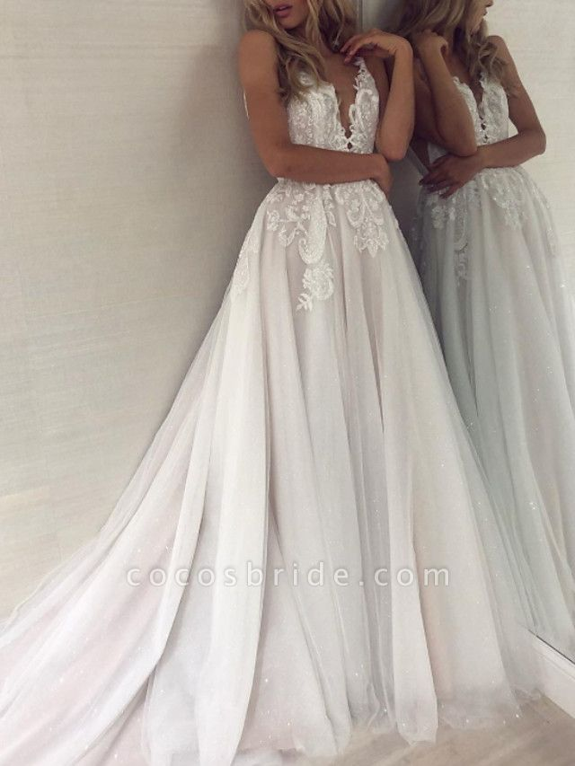 A-Line Wedding Dresses V Neck Sweep \ Brush Train Lace Tulle Sleeveless Sexy Backless