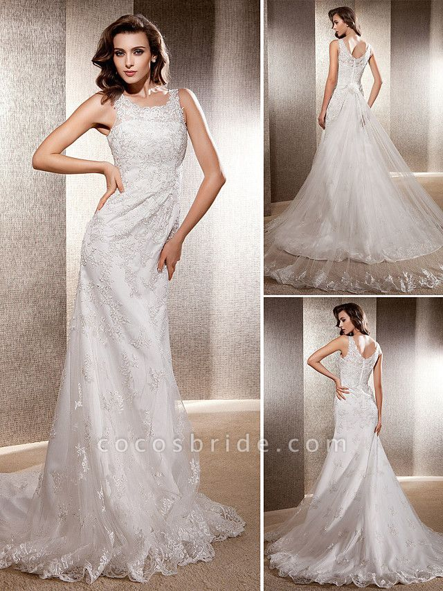 Mermaid \ Trumpet Wedding Dresses Scoop Neck Sweep \ Brush Train Lace Tulle Sleeveless
