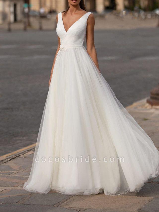 Ball Gown Wedding Dresses V Neck Floor Length Tulle Sleeveless Country Plus Size
