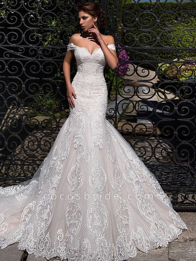 Mermaid \ Trumpet Off Shoulder Court Train Lace Tulle Short Sleeve Sexy Backless Wedding Dresses