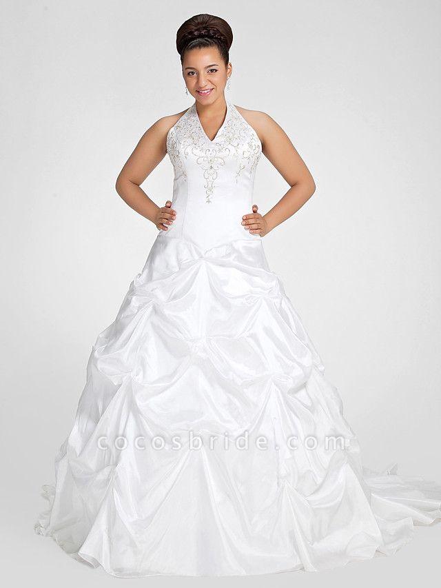 Ball Gown V Neck Court Train Taffeta Regular Straps Glamorous Vintage Plus Size Backless Wedding Dresses