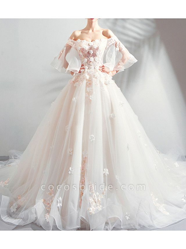 A-Line Wedding Dresses Off Shoulder Court Train Chiffon Tulle 3\4 Length Sleeve Formal Illusion Detail Plus Size