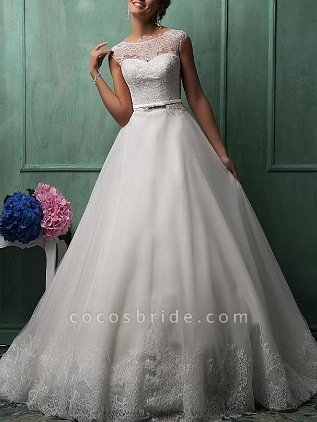 Ball Gown A-Line Wedding Dresses Jewel Neck Sweep \ Brush Train Lace Tulle Cap Sleeve Formal See-Through