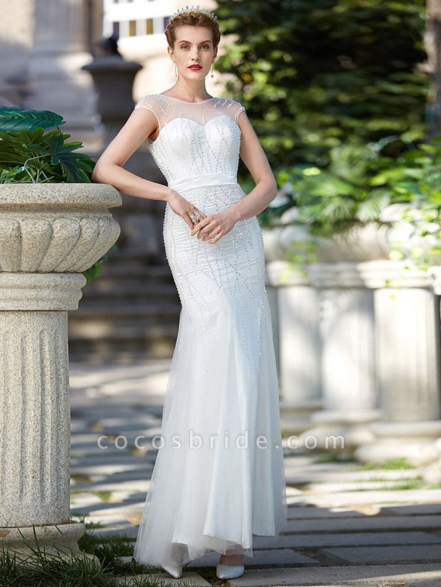 Mermaid \ Trumpet Wedding Dresses Illusion Neck Floor Length Tulle Sleeveless Sparkle & Shine