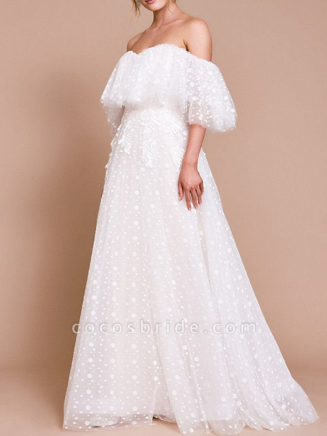 A-Line Wedding Dresses Off Shoulder Sweep \ Brush Train Tulle Half Sleeve Beach Sexy Wedding Dress in Color Backless