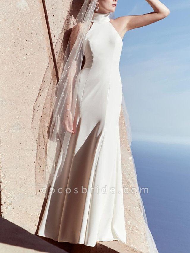 Sheath \ Column Wedding Dresses High Neck Floor Length Satin Sleeveless Beach Plus Size