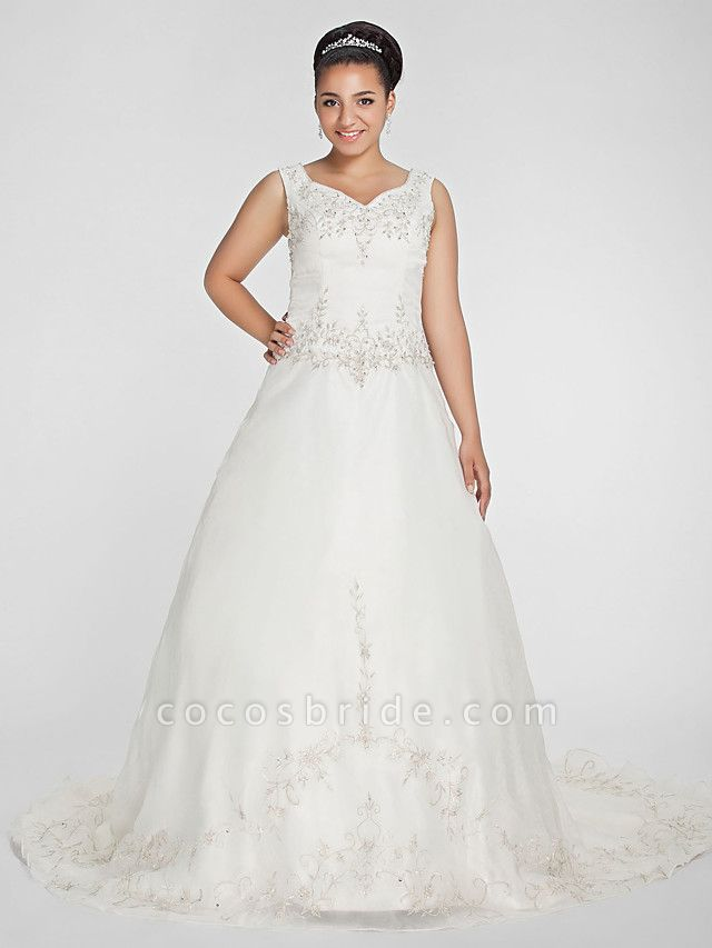 Ball Gown V Neck Court Train Organza Beaded Lace Regular Straps Formal Plus Size Wedding Dresses