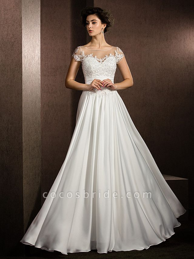 A-Line Wedding Dresses Scoop Neck Floor Length Satin Chiffon Short Sleeve Casual Plus Size