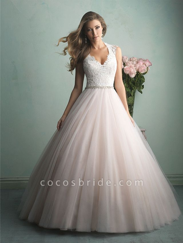 A-Line Wedding Dresses V Neck Sweep \ Brush Train Tulle Regular Straps Romantic See-Through Illusion Detail Backless