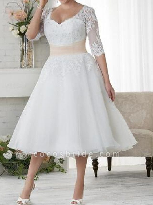 Ball Gown A-Line Wedding Dresses Scoop Neck Tea Length Lace Tulle Half Sleeve Country Plus Size