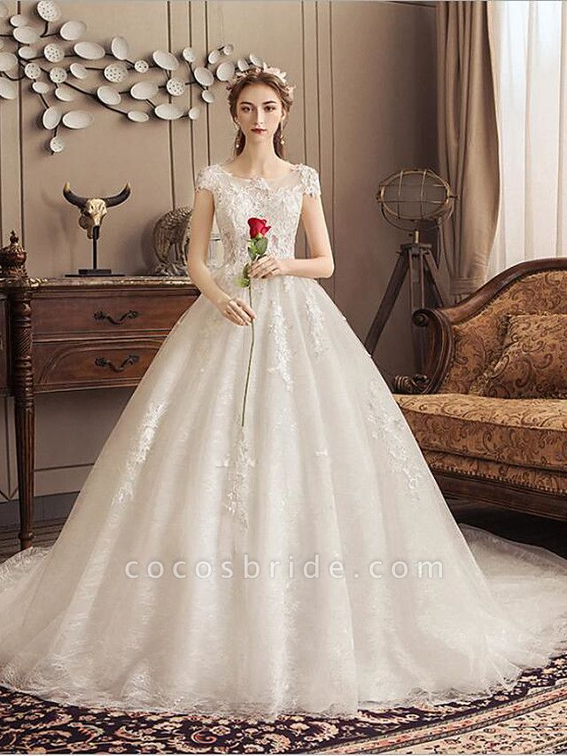 Ball Gown Jewel Neck Watteau Train Lace Tulle Polyester Short Sleeve Romantic Wedding Dresses