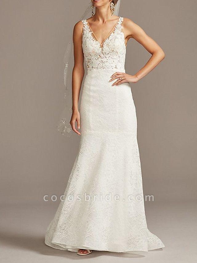 Mermaid \ Trumpet Wedding Dresses V Neck Sweep \ Brush Train Lace Tulle Sleeveless Romantic