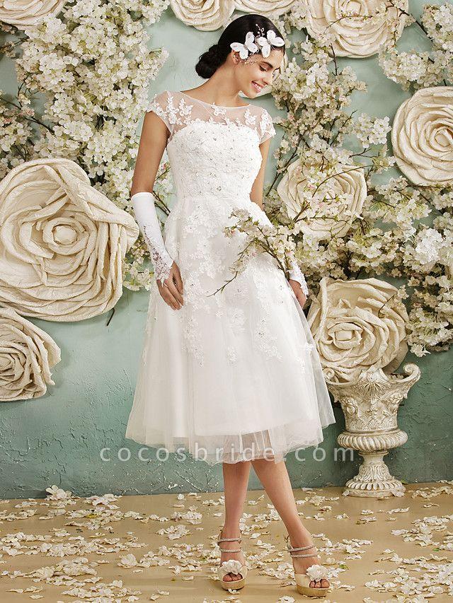 A-Line Wedding Dresses Scoop Neck Tea Length Lace Over Tulle Cap Sleeve Vintage Little White Dress Illusion Detail 1950s
