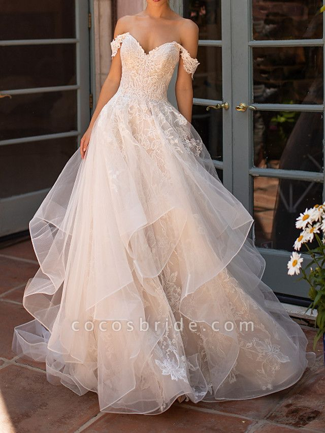 A-Line Strapless Court Train Polyester Short Sleeve Formal Illusion Detail Wedding Dresses