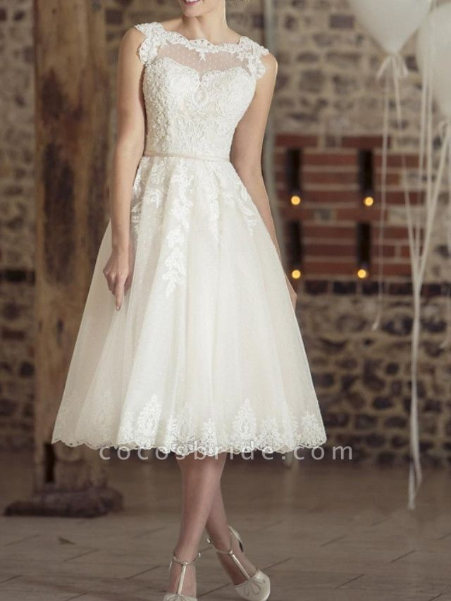 A-Line Wedding Dresses Jewel Neck Tea Length Lace Tulle Sleeveless Vintage Sexy Wedding Dress in Color Backless