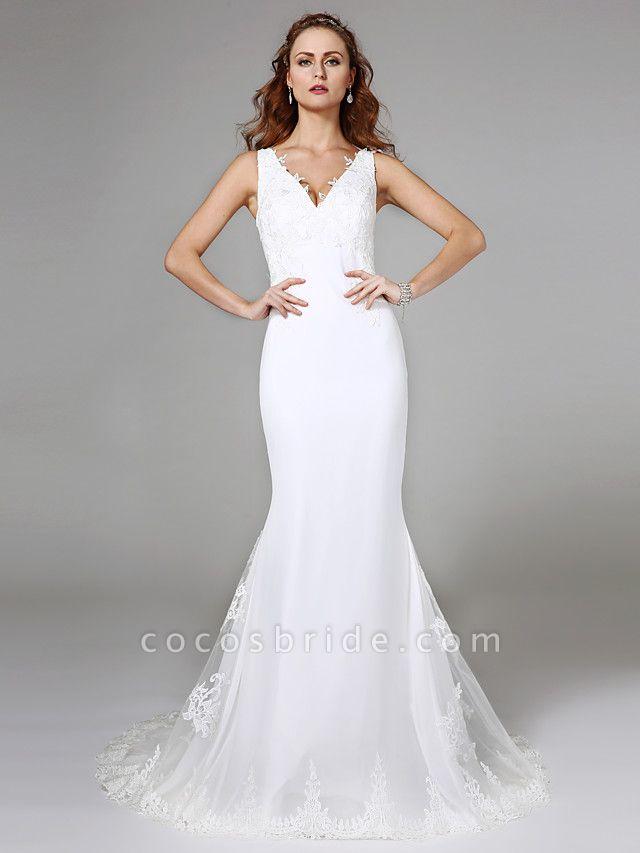 Mermaid \ Trumpet Wedding Dresses V Neck Sweep \ Brush Train Lace Regular Straps Boho Sexy See-Through Plus Size