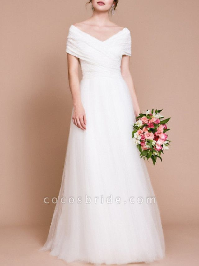 A-Line Wedding Dresses Off Shoulder Sweep \ Brush Train Tulle Short Sleeve Vintage Sexy Wedding Dress in Color Backless