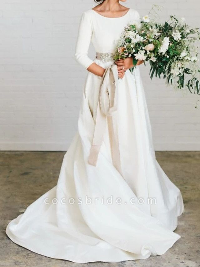 A-Line Wedding Dresses Jewel Neck Sweep \ Brush Train Polyester 3\4 Length Sleeve Formal Plus Size Elegant