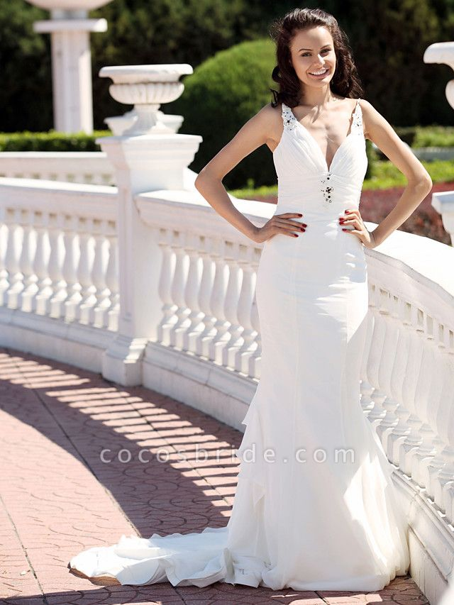 Mermaid \ Trumpet Wedding Dresses V Neck Spaghetti Strap Court Train Chiffon Satin Sleeveless