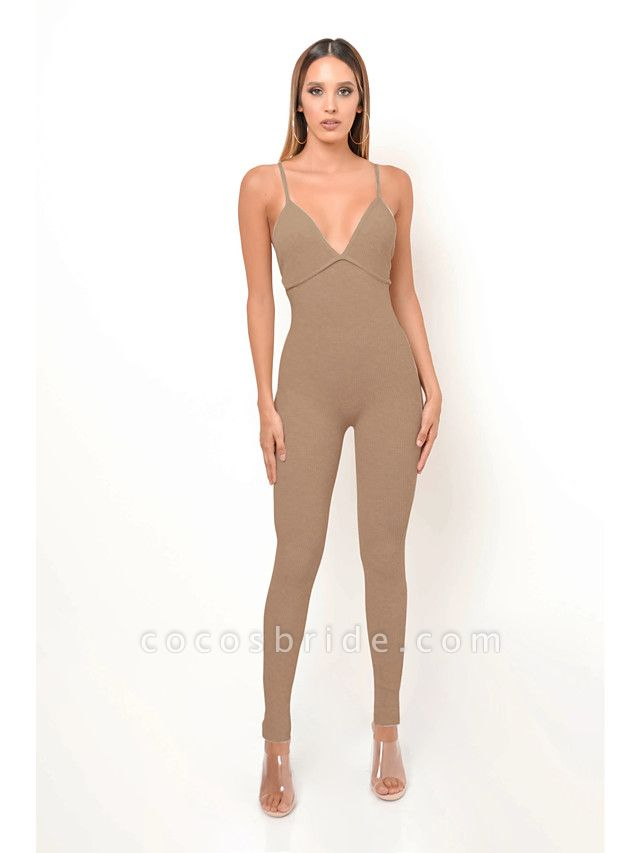 Women's Basic Khaki Gray Jumpsuit