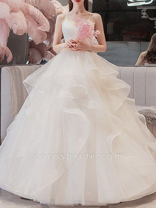 Ball Gown Wedding Dresses V Neck Floor Length Tulle Spaghetti Strap