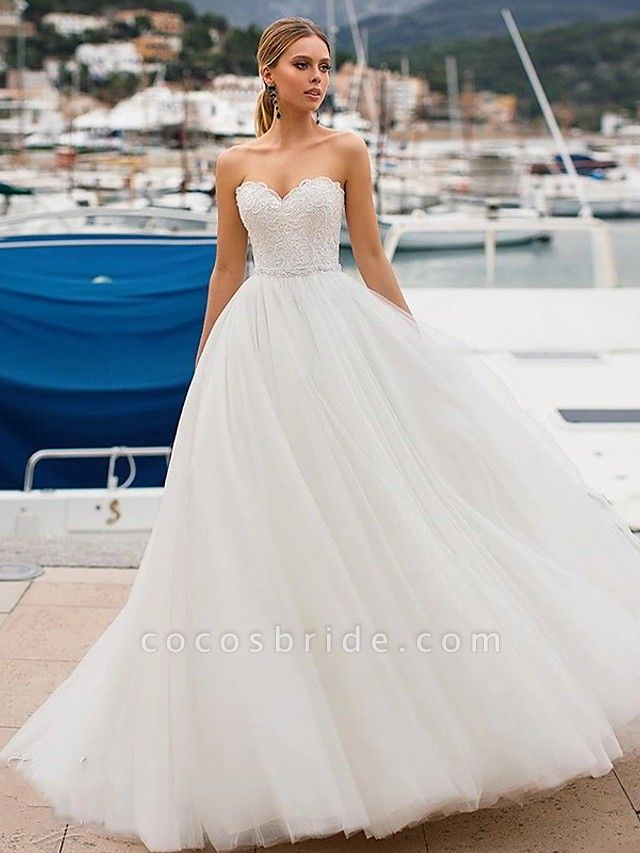Ball Gown Wedding Dresses Strapless Sweep \ Brush Train Lace Tulle Strapless Sexy Plus Size