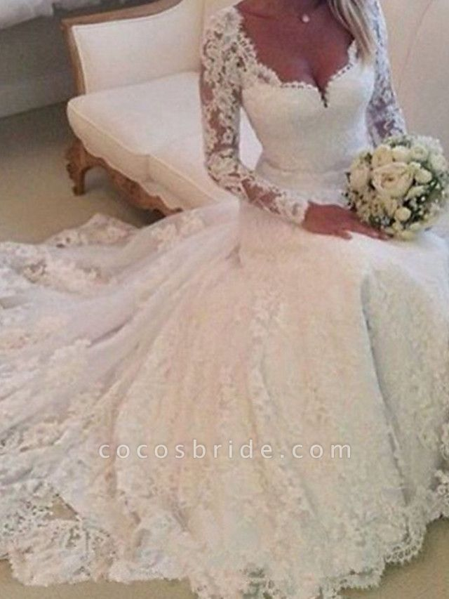 A-Line Wedding Dresses V Neck Chapel Train Lace Tulle Long Sleeve Country