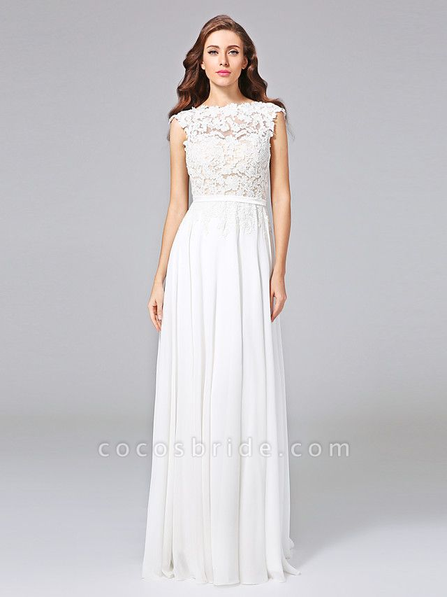 Sheath \ Column Wedding Dresses Bateau Neck Sweep \ Brush Train Chiffon Floral Lace Cap Sleeve Romantic Illusion Detail Backless