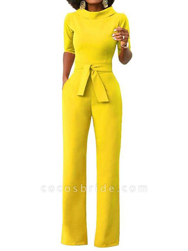 Women's Wide Leg Daily \ Weekend Turtleneck Wine White Black Wide Leg Slim Jumpsuit