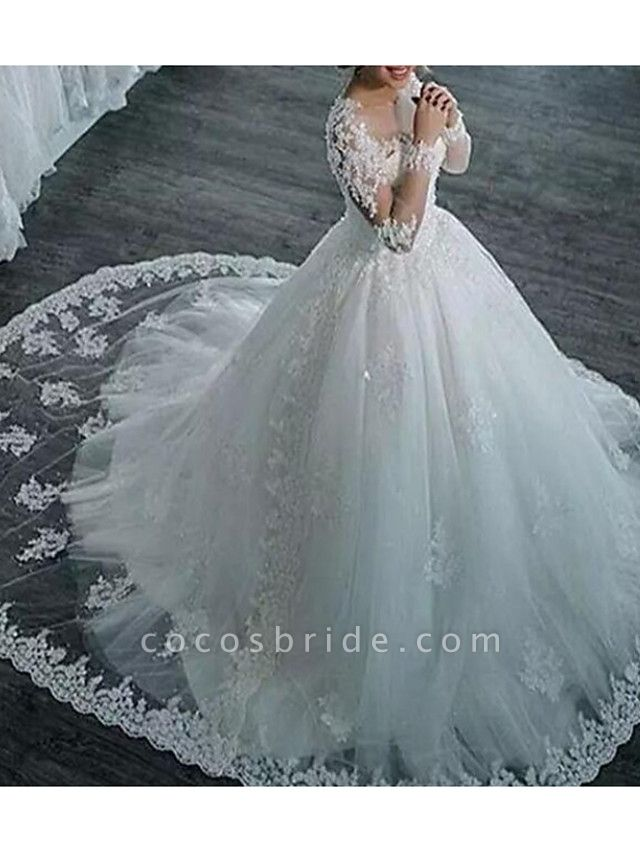 A-Line Wedding Dresses V Neck Sweep \ Brush Train Tulle Long Sleeve Formal Plus Size Illusion Sleeve