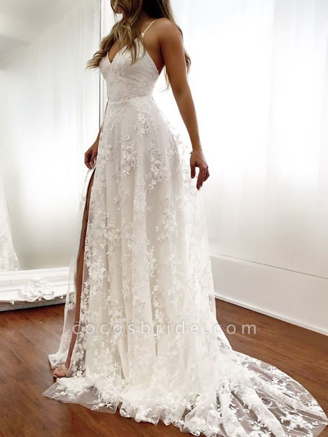A-Line Wedding Dresses Spaghetti Strap Sweep \ Brush Train Lace Sleeveless Beach Sexy Backless