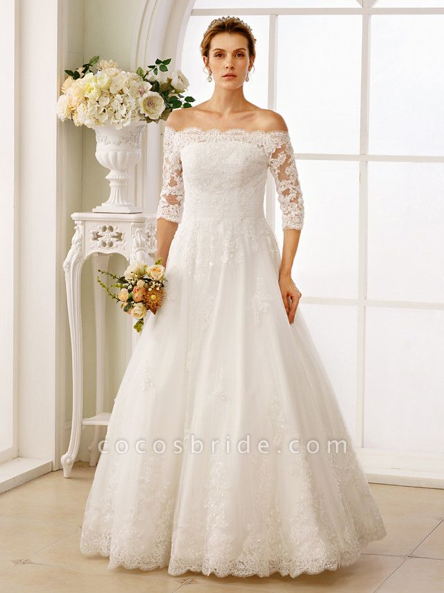 A-Line Off Shoulder Floor Length Lace Tulle Lace Over Tulle 3\4 Length Sleeve Floral Lace Illusion Sleeve Wedding Dresses