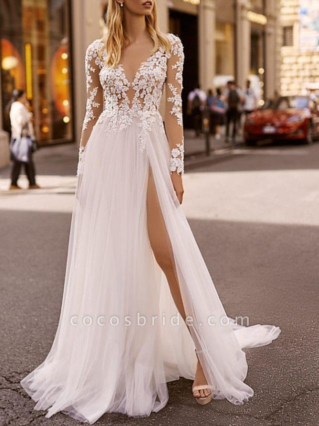 A-Line Wedding Dresses V Neck Floor Length Lace Tulle Long Sleeve Beach Boho Sexy See-Through