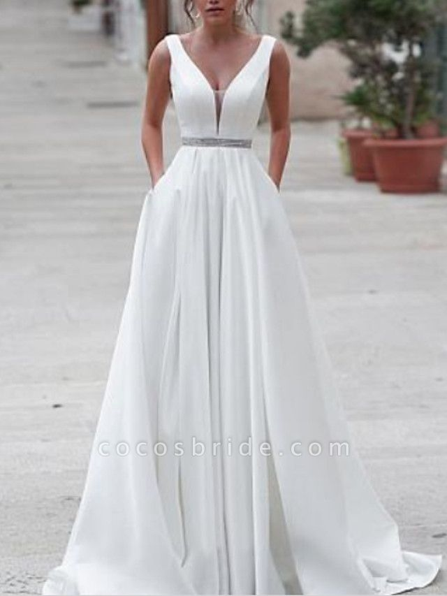 A-Line Wedding Dresses V Neck Sweep \ Brush Train Satin Regular Straps