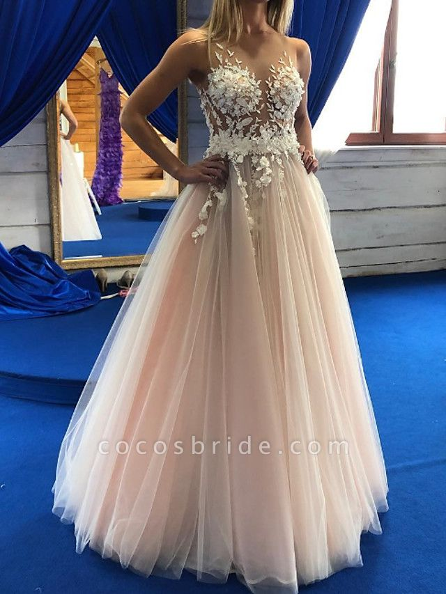 A-Line Wedding Dresses Jewel Neck Floor Length Lace Tulle Sleeveless Sexy Wedding Dress in Color See-Through